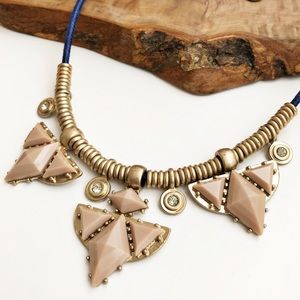 J. Crew gold blue cord statement necklace